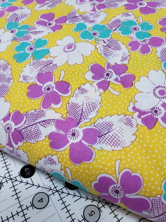 Lavendar, Teal Flowers on Yellow Background, Feedsack Reproductions by Sara Morgan, Washington Street Studio Quilt Fabric by the Yard 646yc