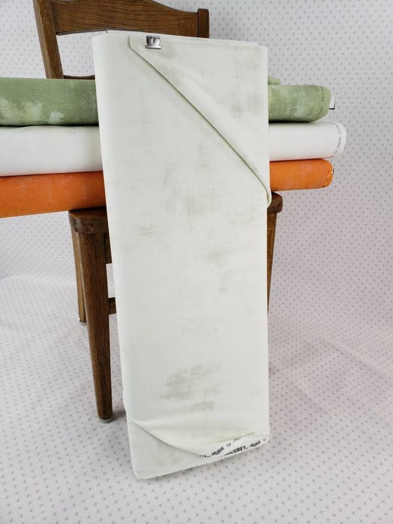 Warm White Whisper Grunge Basics, Modern Textured Brush Stroke Tonal Blender, White Background Moda Quilt Fabric by the Yard, 30150 439