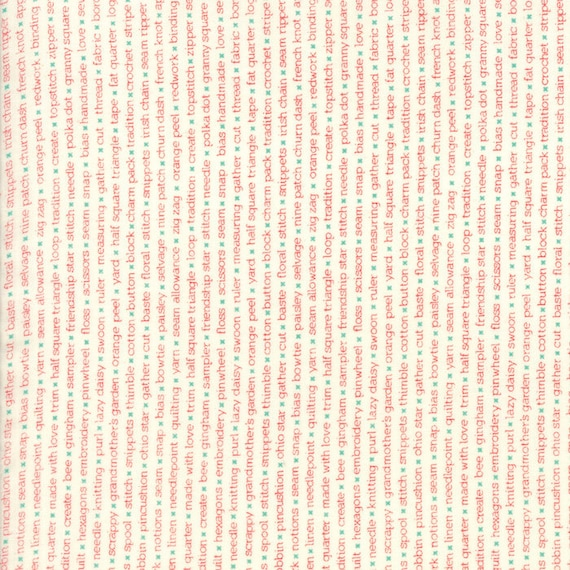 Red Print Words On White Background, Handmade by Bonnie and Camille For Moda, The Words are Craft Sewing Related Fabric by The Yard 55147 11