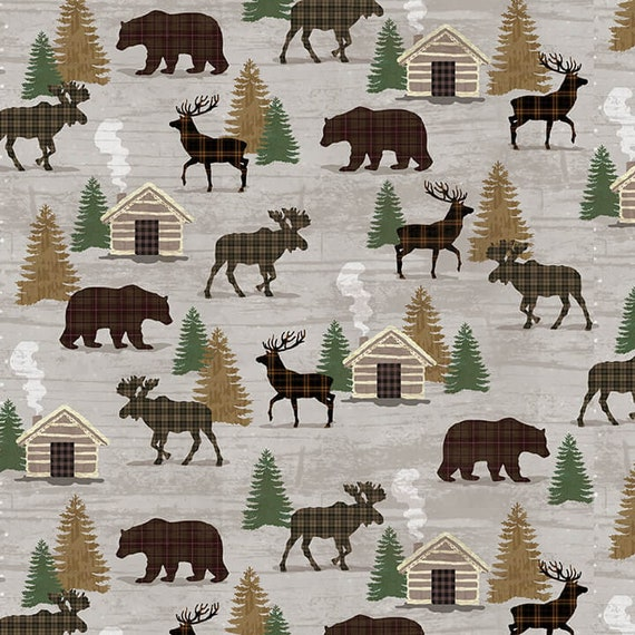 Cabin In The Woods, Forest Animals By The River, Pinecones and Fir Trees, Moose, Bear and Elk, Twilight Lake Quilt Fabric by the Yard 1695