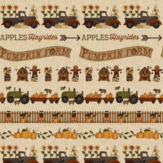 Border Striped Rows of Tractors, Trucks, Wagons, Pumpkins and Words  Pumpkin Farm Stacy West Buttermilk Basin Fabric by the Yard 2051 44