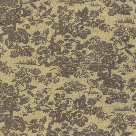 Grey Floral Vintage Scene On Soft Tan Background, Basic Grey Little Black Dress 2 Moda Fabrics by The Yard 30350 13