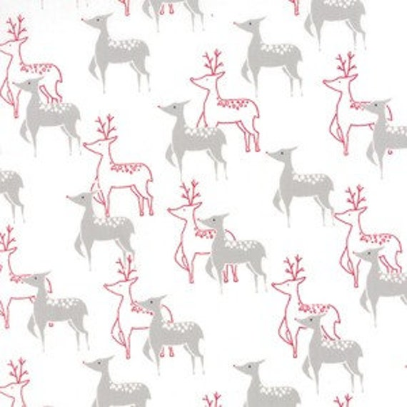 Snowflakes and Reindeer In Red and Gray On White Background, JOL Collection Wenche Wolff Hatling For Moda Fabric by the Yard 39700 12
