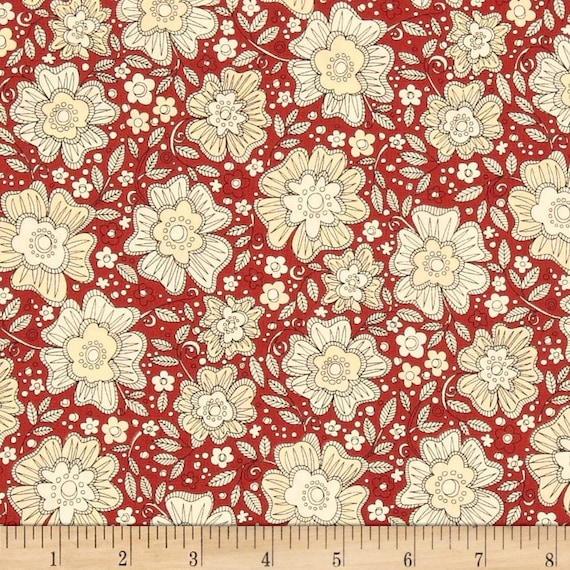 Love More Pencil Flower Design On Red Background, Quilt Fabric by the Yard For P&B Textiles. 312R
