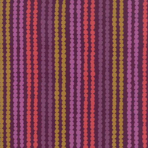 Bubble Stripe With Plum Background, Digital Quilt Prints Crystal Manning by Moda, Fabric by the Yard 11836 12