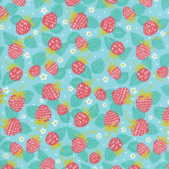 Strawberry Field On Light Blue, Digital Quilt Prints Crystal Manning by Moda, Fabric by the Yard 11832 17