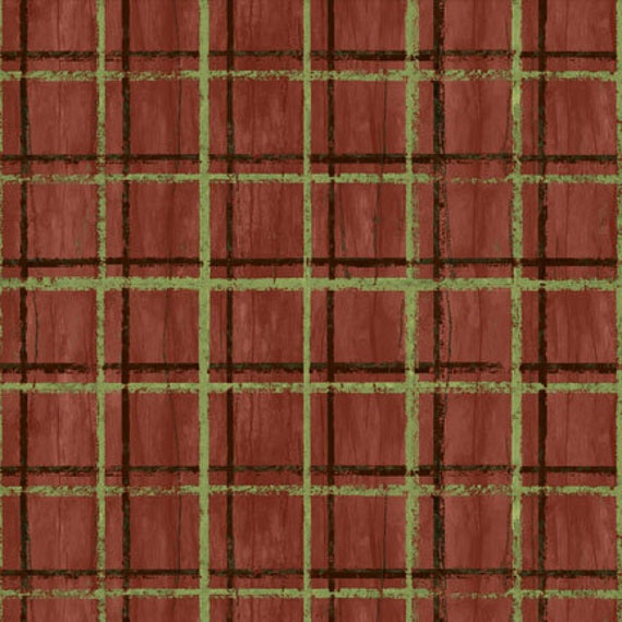 Sage Green And Black Plaid Stripes On Rusty Red Background, Among The Pines For Wilmington Prints Quilt Fabric by the Yard, 82406 279