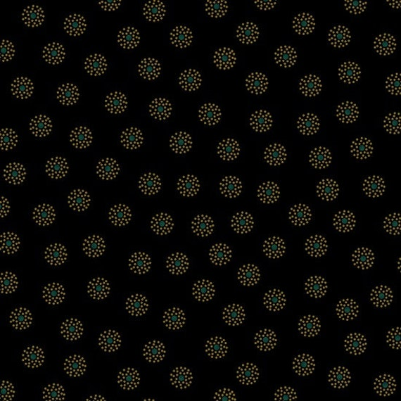 Ebony and Onyx By Kim Diehl Primitive Black Tan Circles of Dots With Green Center Dot, Cotton Print Quilt Fabric by the Yard 6997 99