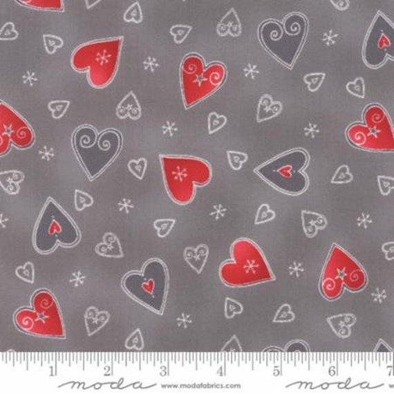 Snowflake Hearts In Red and Gray On Marbled Grey Background, JOL Collection by Wenche Wolff Hatling For Moda Fabric by the Yard 39701 15