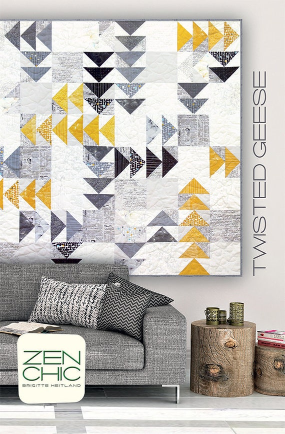 Modern Quilt Pattern, Twisted Geese by Brigitte Heitland of Zen Chic, Beginner Level Quilter, Layer Cake Friendly And Stash Buster