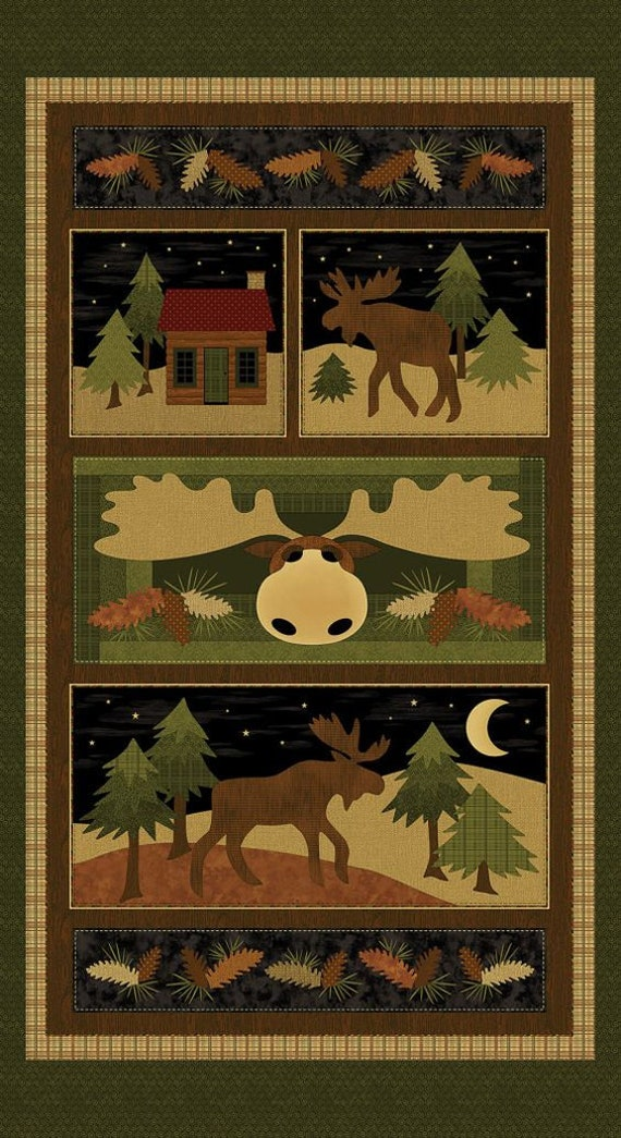 Moose On The Loose Panel, Benartex Fabric by the Yard, 4300 99