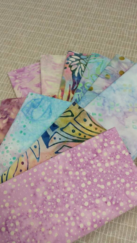 Batik Textiles Bundle of 10 Pre Cut Fat Eighth Fabrics in Medium and Light Soft Purple, Pink and Blue Handmade Prints From Indonesia