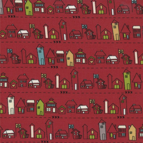 Tomato Red Boulevard Row Houses In Green, Gray and Creme, Modern Design Road 15 by Sweetwater For Moda Fabrics 5522 15