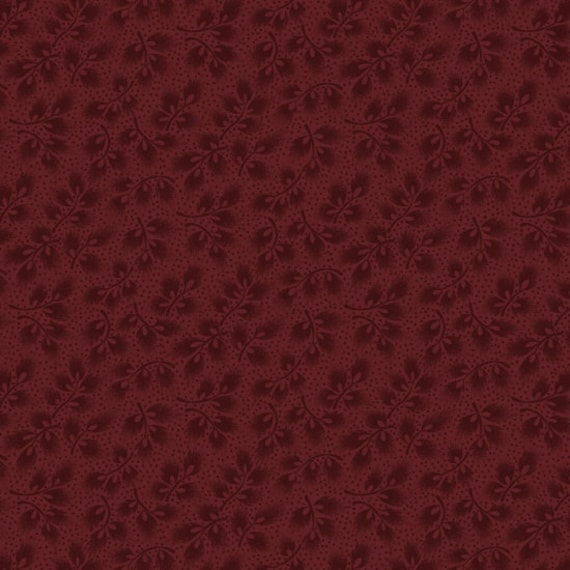 Leaf Sprigs In Deep Red From Spirit Of America Collection by Stacy West of Buttermilk Basin, Patriotic Primitive Fabric by the Yard 8861 88