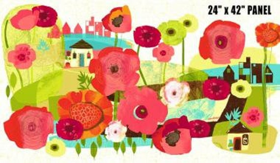 Always Blooming Quilt Fabric Panel, Bright Flowers In Pink, Red, Lime Green and Orange by  P&B Textiles. ablo 960