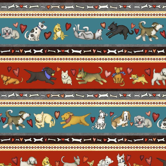 Border Print, Hearts and Bones Dog Quilt Fabric, Fabric For Dog Lovers, Dog Trainers, Dog Decor.  Quilt Fabric by the Yard