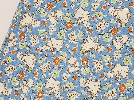 Light Blue Flower Girls In Garden, 1930s Style Quilt Fabric By The Yard, Toy Chest From Washington Street Studio's For P&B Textiles 335b