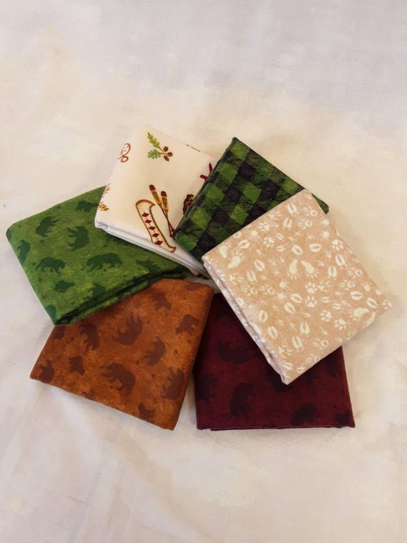 Lodge Life Flannel Prints In 6 Half Yard Cuts Featuring Bears, Tracks, Moose, Campfires, Leaves. Rustic Mountain Designs For Quilts, Pillows