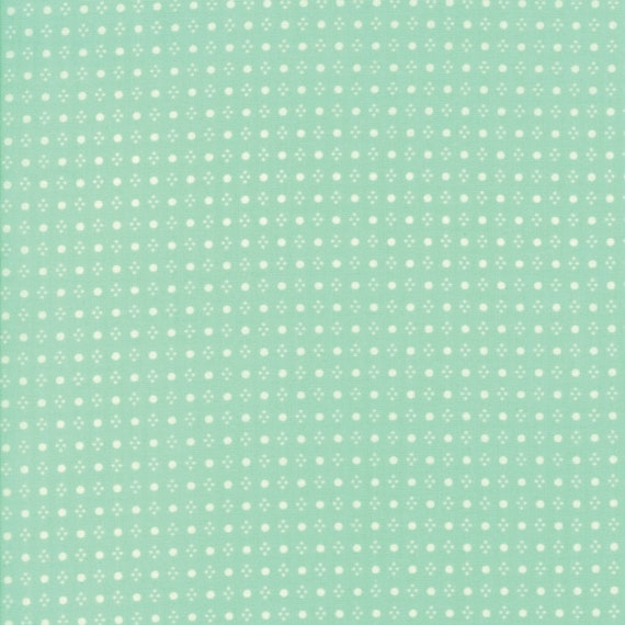 White Dots On Aqua Background, Handmade by Bonnie and Camille For Moda Quilt Fabric by The Yard 55143 12