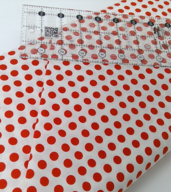 "Red Dots on White Background From Fab ""Friend"" ZY by Tickled Pink, Barbara Jones, Quilt Fabric By The Yard 6488 8"