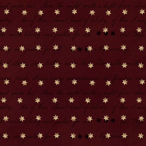 Creme Folk Stars and Stripes On Vintage Red Background, Patriotic Quilt Fabric, Spirit Of America, Stacy West, Buttermilk Basin 8866 88