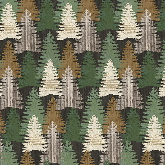 Trees In The Forest, Mountain Pine Trees, Green Spruce Woods,  Rustic Cabin Decor, Twilight Lake Quilt Fabric by the Yard 11690 66
