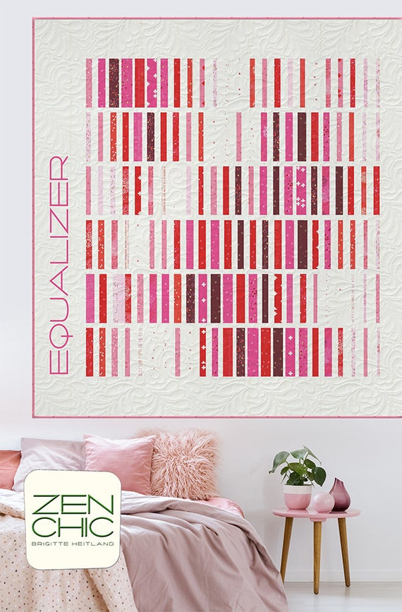 Modern Quilt Pattern, Equalizer by Brigitte Heitland of Zen Chic, Intermediate Level Quilter, Jelly Roll Friendly Strip Style Quilt Pattern