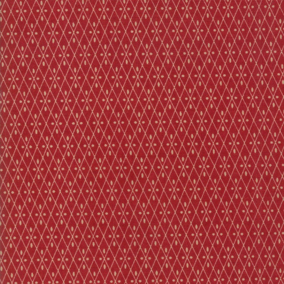 Vive La France Rouge and Tan, Tomato Red and Tan Diamonds and Dots By French General For Moda Quilt Fabric by The Yard 13836 11