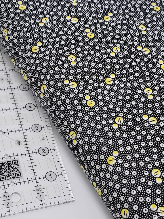White And Yellow Bubbles And Dots On Black, Feedsack Reproductions by Sara Morgan, Washington Street Studio Quilt Fabric by the Yard 649Y