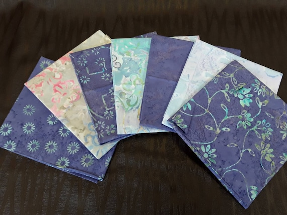 Batik Textiles Fat Quarter Bundle of 7 Hand Cut Complimentary Colors. Group 7L Soft Lavender With Neutrals. Floral Modern Designs