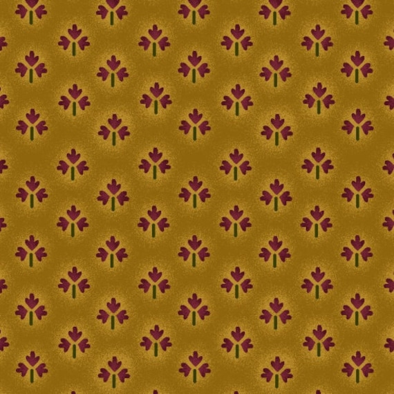 Primitive Fleur-de-lis As Oak Leaves On Tonal Deep Mustard Farmstead Harvest by Kim Diehl, Cotton Print Quilt Fabric by the Yard 6944 40