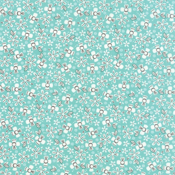 Corey Yoder Little Miss Shabby Aqua Prairie Ditsy Flower Quilt Fabric. Flowers Are White With Mauve Pink Details, 29002-18