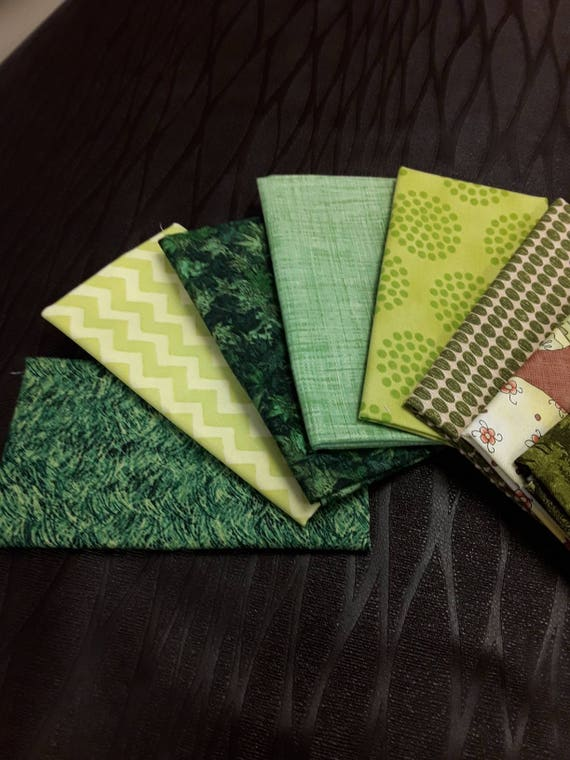 Green Fabric Bundle of 8 Fat Eighths For Scrappy Patchwork Quilt Projects, Prints of Leaves, Dots, Eggs, Pears, Zig Zag, Moose and Trees