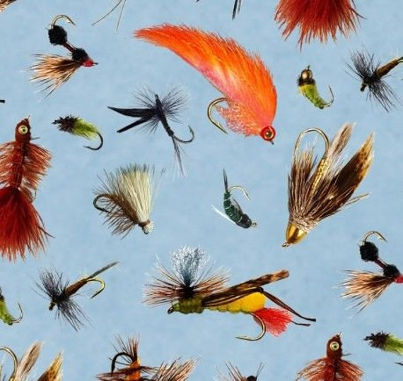 Fly Fishing Lures On Blue, Top Rod for Elizabeth's Studio, Quilt Fabric by the Yard, 428 Blue
