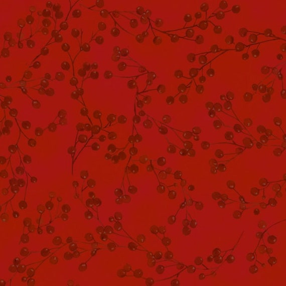 Red Winter Berries With Stems on Soft Red Background, Fabric by the Yard, by Barb Tourtillotte, 1305-88