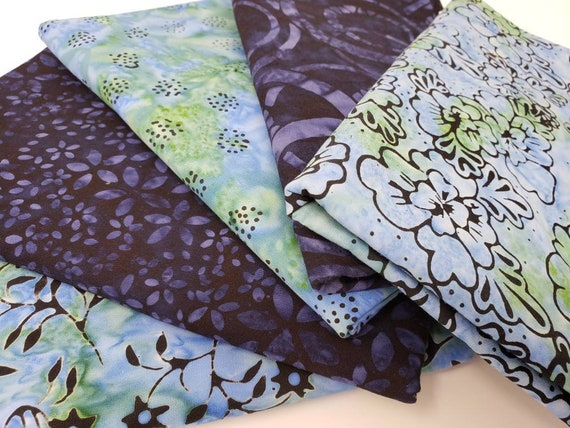 Batik Cotton Fabric Of 5 One Yard Cuts Blue and Navy With Flowers, Dots, Leaves On A Vine 1YARDBN225