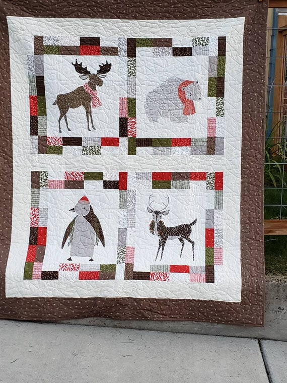 Modern Holiday Lap Quilt-Loving Moose-Polar Bear Dressed In A Scarf-Penguin With A Santa Hat- Deer With A Christmas Wreath, Handmade Gift