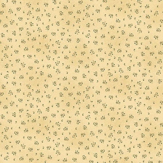 Kim Diehl Butter Churn Basics Beige Tiny Berry Branch With Hint of Creme And Green Dots, Henry Glass Fabrics by the Yard 6555 44