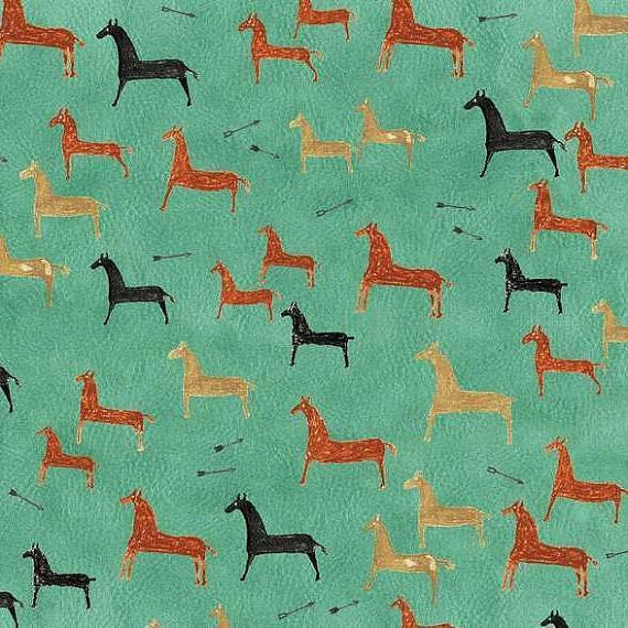Painted Pony Native American Primitive Horses In Black, Gold, And Orange On Turquoise Background, Fabric by the Yard 36555-1