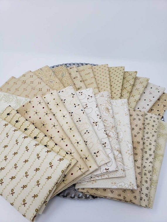 Kim Diehl Neutral Fat Eighth Quilt Fabric Bundle Of 24 Butter Churn Basics from Henry Glass Fabrics.  Hand Cut Creamy Background Materials