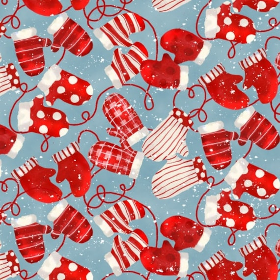 Warm Woolen Mittens In Red Dots, Stripes and Plaids Scattered On Light Blue Background, Fabric by the Yard, by Barb Tourtillotte, 1313-11