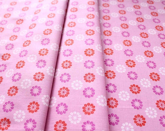 Purple, Red and White Daises On Pink, Mustang Collection From Cotton And Steel Melody Miller Leap And The Net Will Appear Fabric by the Yard