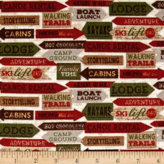 Cabin Lodge Direction Signs, Boat Launch Holiday Christmas Flannel Fabric, Woodland Retreat by Jan Shade Beach, Fabric by the Yard, F6802 63