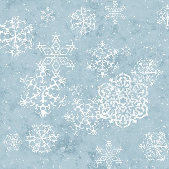 Floating White Snowflakes Scattered On Soft Blue Background, Fabric by the Yard, by Barb Tourtillotte, 1311-11