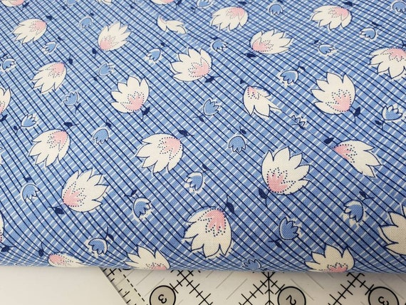 White Pink Flowers on Blue Background, Feedsack Reproductions by Sara Morgan, Washington Street Studio Quilt Fabric by the Yard 648b