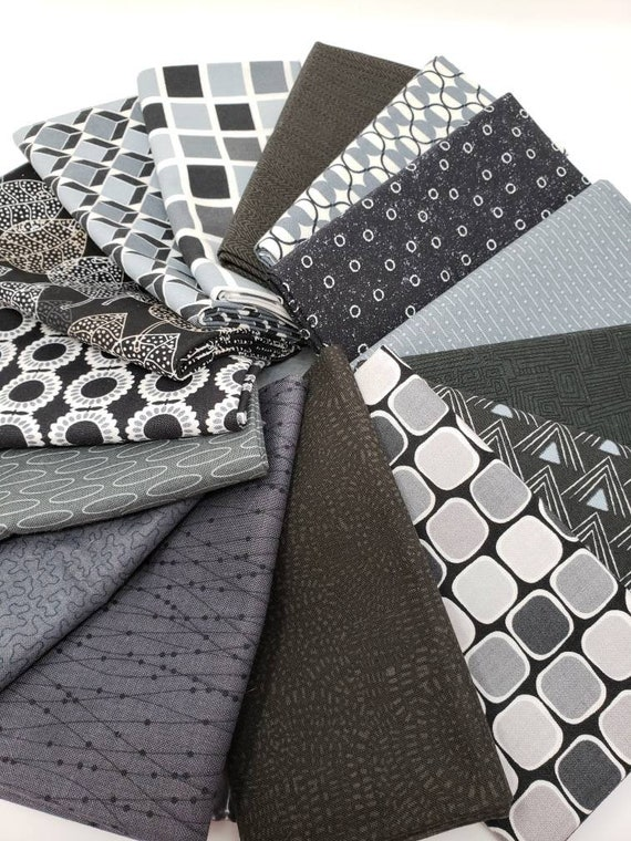 Modern Dark Gray Neutral Fat Quarter Bundle Of 15 Pieces, Cream, White and Grey Backgrounds Hand Cut In My Studio