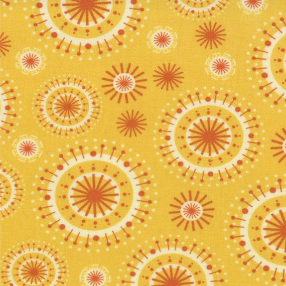 S'More Love Spoked Circles In Orange on Yellow Background, Designers Eric & Julie Comstock, For Moda Fabrics by the Yard  37075 12