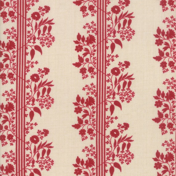 Vive La France Pearl Rouge, Tomato Red and Creme Stripe Prints By French General For Moda Quilt Fabric by The Yard 13833 12
