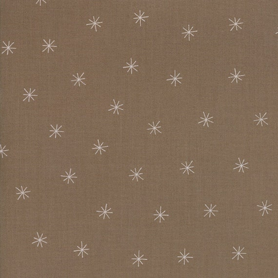 Taupe Medium Brown Falling Snow Flakes Merrily Quilt Fabric By Gingiber For Moda, Winter Holiday Modern Style Fabric by the Yard 48213 29