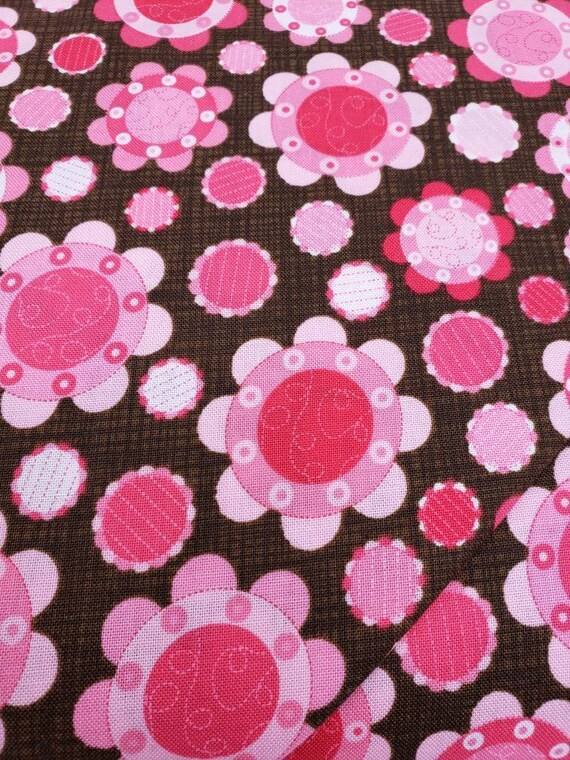 Pink and Red Circle Flowers On Chocolate Brown Background, Lily's Garden Quilt Fabric, RJR Fabrics, 2026 001